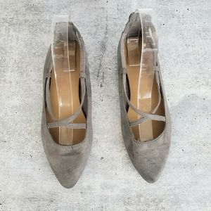 Gap Suede Feel Point toe Gray Strappy Flats 7